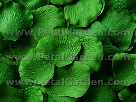 Green silk rose petals