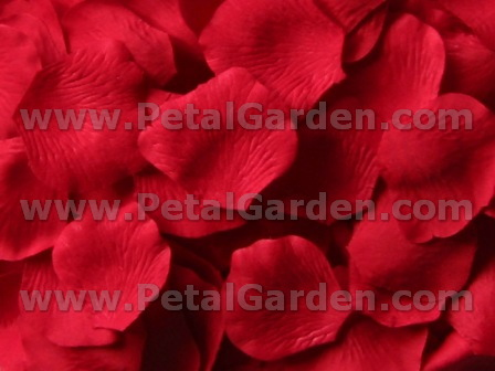 Red silk rose petals
